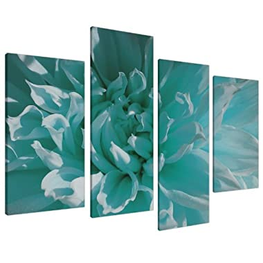 Teal Blue Chrysanthemum Flower Floral Canvas - Split 4 Piece - 51 Inches Wide - 4103 - Wallfillers