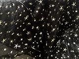 Organza Stoff schwarz Relief Bedruckt Meterware Sterne
