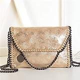 Bolso Casual para Mujer Bolso de Hombro de Cuero de PU Bolso de Cadena Bolso de Mano de Moda (Oro)