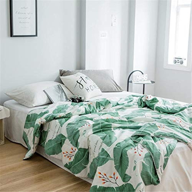 AIMHOME Coton Confortable Feuille Verte Impression climatiseur d'été Cool Mince Couette Home Textile Literie Couettes Couettes 200cm × 230cm
