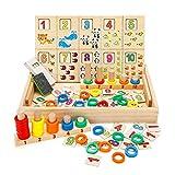 Babyhelen Montessori Boîte d'apprentissage de Math, Jouets Educatifs Scientifiques Tableau en Bois, Jouet de Maternelle, Jouet Compter Horloge Chiffres, Parfait Cadeau Enfanthelen