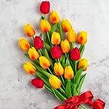 Whaline - Ramo de tulipanes artificiales, 20 unidades, tacto real, tulipán sintético