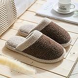Zapatillas Casa Hombre Mujer Zapatillas De Algodón para El Hogar, Bonitos Zapatos De Invierno Antideslizantes De Suela Gruesa para Hombre, Zapatillas De Algodón Suave para Mujer, 44 Mn00058-Brown