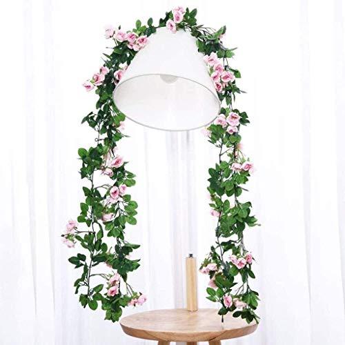 JIAFENG Rose Mimbre Flores Artificiales Vid Restaurante de decoración de la Boda de Flores, Flores de plástico (Color, D, Tamaño, (1.8M) 3),UNA,(1,8 m) * 3
