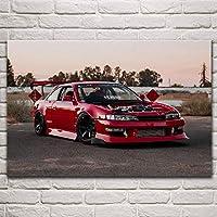 超クールな赤い車カスタムjdmスポーツカーファンアートリビングルームの装飾家の壁アートの装飾ポスター50x75cm(19.7x29.5インチ)フレームなし