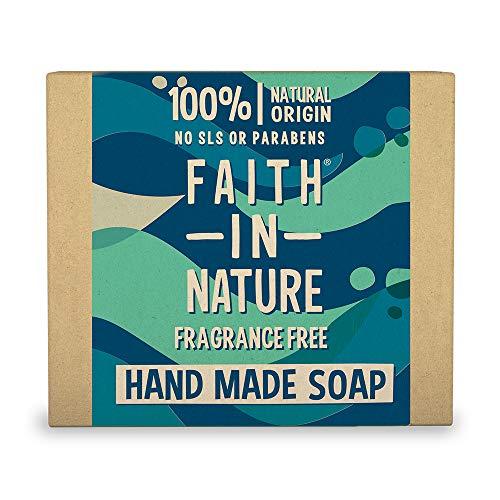 Faith in Nature Savon Main Naturel Sans Parfum, Sensible, Végan et Respectueux des Animaux, Sans Parabènes et Sans SLS, 100g