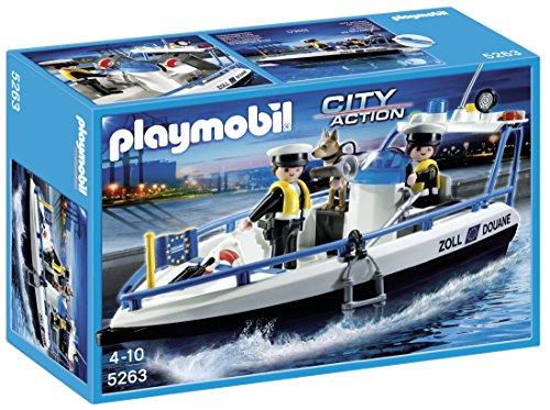 PLAYMOBIL Mercancías y Aeropuerto - Lancha de vigilancia, Playsets de Figuras de Juguete, Multicolor, 30 x 10 x 20, (5263)