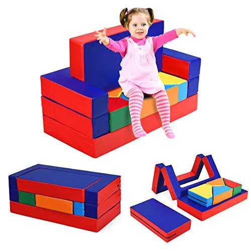 DREAMADE Multifunktion Spielsofa, 4 in 1 Kindersofa Kindermatraze Kinder Sitzgruppe mit flexibler Kombination, Puzzle Sofa Spielmatraze, Kindercouch Spielpolster Schaumstoff Bausteine Kinderzimer
