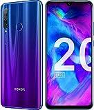 HONOR 20 Lite Smartphone Cellulare 4 GB RAM, Memoria Espandibile da 128 GB,Display 6.21' FHD+,Doppia SIM,Tripla Fotocamera Posteriore da 24+8+2 MP, Fotocamera Anteriore 32 MP, Blu Sfumato