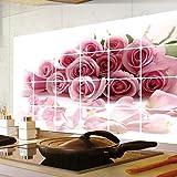 60X90Cm Abnehmbare Aluminiumfolie Aufkleber Küchen Dunstabzugshaube Hintergrund Dekoration Pink Rose Flowers Wallpaper