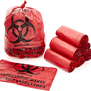 No Leak Hospital Grade Biohazard Waste Bags 150 Pk 10 Gallon 24  Red Trash Liner With Hazard Symbol For Infectious Waste Disposal Best Small Lab Can Liners for Labeling Biohazardous Trash Safely