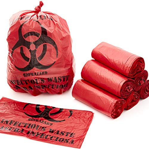 No Leak, Hospital Grade Biohazard Waste Bags 150 Pk. 10 Gallon, 24' Red Trash Liner With Hazard Symbol For Infectious Waste Disposal. Best Small Lab Can Liners for Labeling Biohazardous Trash Safely