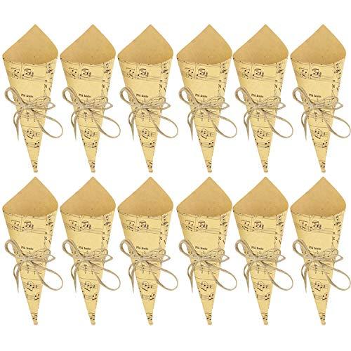 50 sztuk Retro papier pakowy szyszki bukiet cukierki torby czekoladowe pudełka prezenty na wesele pakowanie z konopnymi linami naklejki na etykiety taśma w stylu notatki