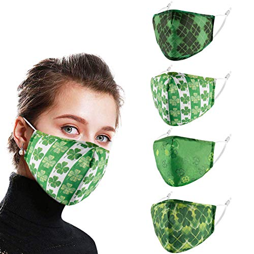 Alldriey St. Patrick Day Clover Washable Face Mask, Cute Reusable Adjustable Funny Design Breathable Decorate Facemask for Girl Women Men Ladies Gift ,Soft Fabric mascarillas