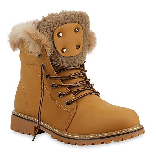 Unisex Damen Herren Warm Gefütterte Damen Worker Boots Stiefeletten Outdoor Schuhe 128819 Hellbraun Fell 38 Flandell