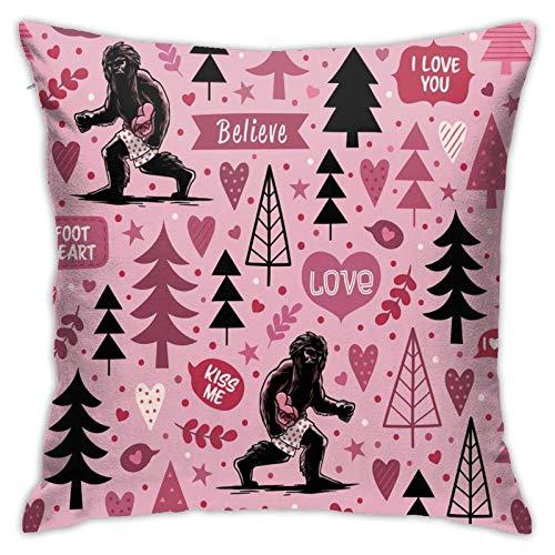 xiancheng Kissenbezug, Bigfoot Big Heart Throw Kissenbezug Moderner Kissenbezug Quadratische Pilloase Dekoration für Schlafsofa Auto 18 x 18 Zoll