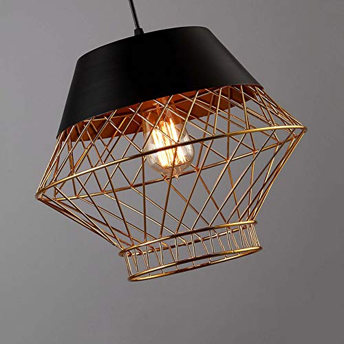 Lámpara colgante vintage de 1 llama con aspecto retro, material de la lámpara Suspensión: hierro, color: negro, dorado, casquillo: E27, Ø 35 cm, para salón comedor Lámpara de Techo