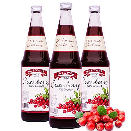 6 x 0,7l Cranberrysaft (100% Direktsaft) - Original Satower