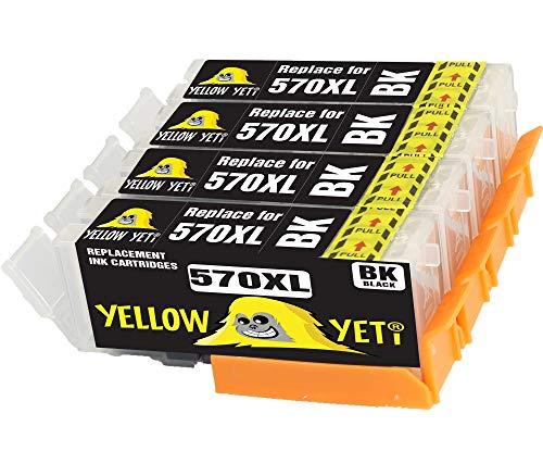 Yellow Yeti Reemplazo para Canon PGI-570XL PGI-570PGBK Cartuchos de Tinta Negro compatibles con Canon Pixma TS5050 MG5750 MG5751 TS6050 TS8050 TS9050 MG6850 MG6851 MG7750 TS5051 TS5053 TS6051 TS6052