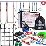 Ninja Warrior Obstacle Course for Kids - 60' Ninja Slack Line 13 Obstacles - Ninja Warrior Training Equipment for Kids - Monkey Bars - Outdoor Play Equipment for Kids - Ninja Kids - Ninja Course