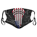 Adjustable Face Mask With Replaceable Filters, Cool Lacrosse Head Flag Fabric Black Dust Mask Face Cover For Kids Women Men