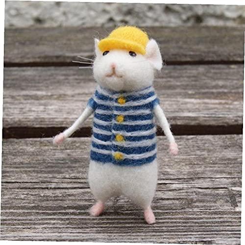 TOSSPER 1set DIY Wolle Nadelfilz Non Finished Maus Handgemachte Kitting Spielzeug-reizendes Tier Mäuse Poked Puppe Kits