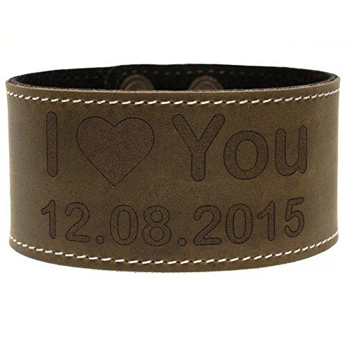 Lederen Armband Bruin met Tekst Vrouwen/Heren Armband Gegraveerde Tekst Graveren Echt Leer Antiek Rustiek MenQ Regelmatig