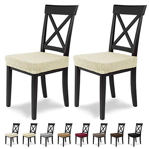 Scheffler Jacquard Lea Stretch stoelbekleding, elastische stoelbekleding, stoelbekleding, eetkamerstoel, elegant kussen voor stoelen, stretch met elastiek Inhalt 2 Hussen wit-ecru