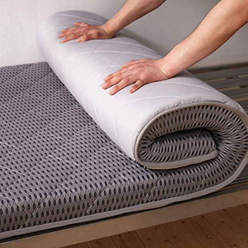 YWYW Alfombrilla de Tatami para Dormir colchón de futón de Piso Grueso y Suave Rollo de Cama japonés colchón para Dormitorio de Estudiantes colchón Plegable para Invitados Gris 80x200cm (31x
