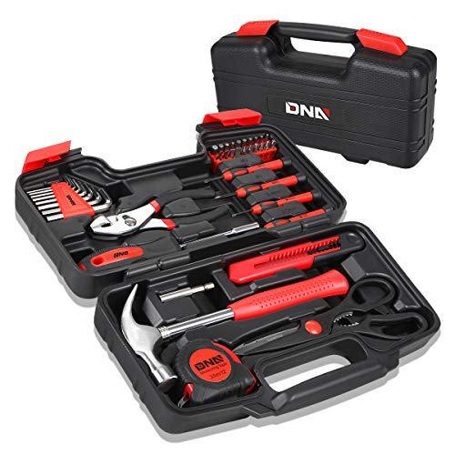 DNA MOTORING Red 39 PCs Portable TooL Kit Household Hand Toolbox General Repair Screwdriver Pliers Hammer Hex (TOOLS-00006)