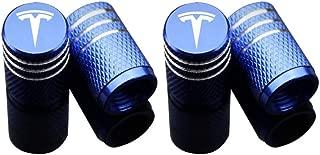 EVPRO Valve Stem Caps 4 Pack Blue Fit for Tesla Model 3 S X Tire Decorative Accessories