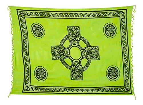 Sarong Pareo Wickelrock Strandtuch Tuch Wickeltuch Handtuch - Blickdicht - ca. 170cm x 110cm - Grün Batik mit Keltischen Motiv Handgefertigt inkl. Kokos Schnalle in Herzform