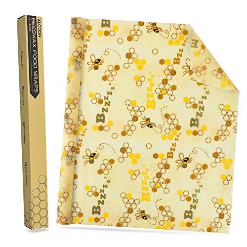 ALCOON Bienenwachstücher Wachspapier Natürlichem Bienenwachs und Baumwolle Wiederverwendbare für Lebensmittelaufbewahrung, Käse- und Sandwich-Verpackungen, 13 x 39 Inch