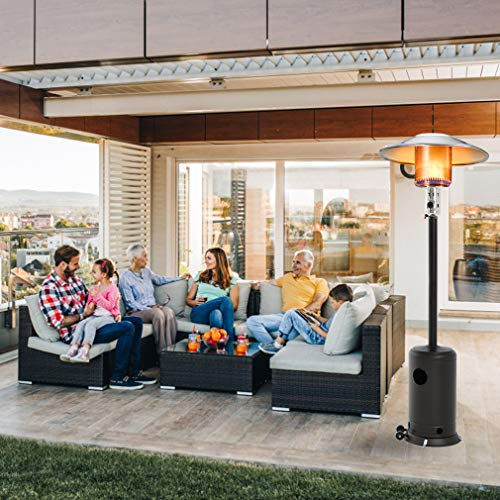 Patio Heater Tall Hammered Finish Garden Outdoor Heater Propane Standing LP Gas Steel w/Accessories (Mocha)