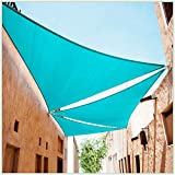 ColourTree 16' x 16' x 16' Turquoise Sun Shade Sail Triangle Canopy Awning Fabric Cloth Screen - UV Block UV Resistant Heavy Duty Commercial Grade - Outdoor Patio Carport - (We Make Custom Size)