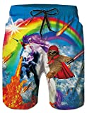 Fanient Hosen für Männer Laufen Junge Board Kurze Schwimmen 3D Gedruckt Einhorn Grafik Boardshorts XL