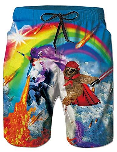 Fanient Sport Hosen Männer Sommerkleidung kleine Jungen Schwimmen Badehose 3D Gedruckt Einhorn Regenbogen Grafik Freizeithose L