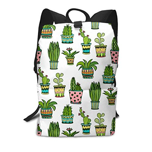 Homebe Rucksäcke,Daypack,Schulrucksack Succulent and Cactus Pattern Business Laptop Backpack Durable Wear Resistance Schoolbag 14 * 8 Inch