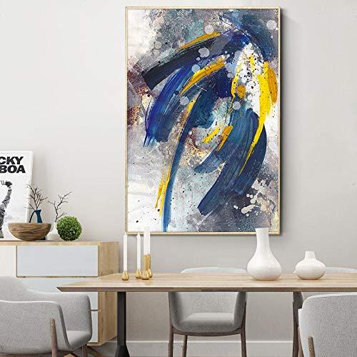 wZUN Pintura Colorida Abstracta Imagen Arte de la Pared Paisaje Pintura al óleo Lienzo Mural de la Sala de Estar 60x90 Sin Marco
