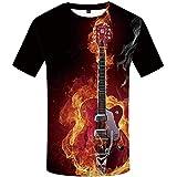 Camiseta de la Guitarra Antorcha Humana 3D de impresión Digital de Camisetas con Mangas Cortas,DX-0956,SG