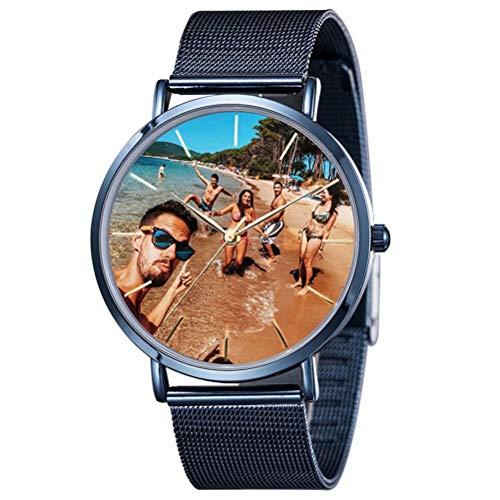 LuBHnna Reloj de Fotos Personalizado para Mujeres, Hombres, Acero Inoxidable, Reloj de Pulsera de Cuarzo Personalizado, Regalo para cumpleaños, cumpleaños