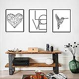 JinYiGlobal Línea Simple Love Bird Pintura en Lienzo Familia Amor Imágenes Sala de Estar Porche So...