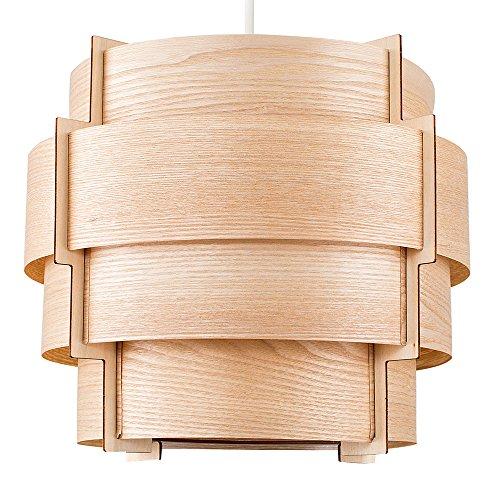 MiniSun – Moderner brauner Trommel-Lampenschirm aus Holzfurnier im Stufendesign – für Hänge- und Pendelleuchte