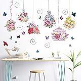 CVG Flores de Colores Jaula de pájaros Mariposa Adhesivo de Pared Habitaciones para niños Adhesivos Muraux Decoración para el hogar Adesivos De Parede
