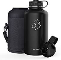 BUZIO Stainless Steel Water Bottle, BPA Free & Vacuum Insulated with Straw Lid and Flex Cap(Cold for 48 Hrs, Hot for 24...