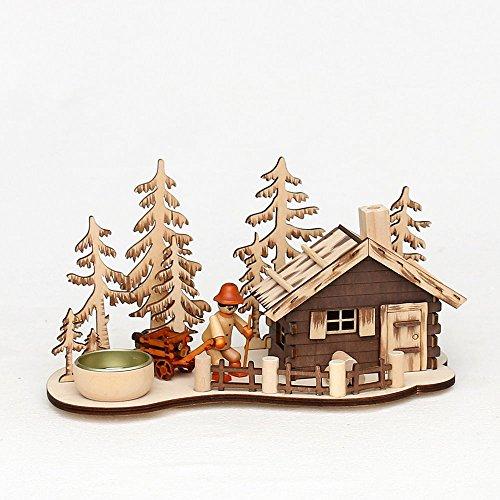 Unbekannt Räucherhaus und Teelichthalter aus Holz Weihnachtsdeko aus Dem Erzgebirge-Vogtland schöne Weihnachtsdekoration zu Weihnachten