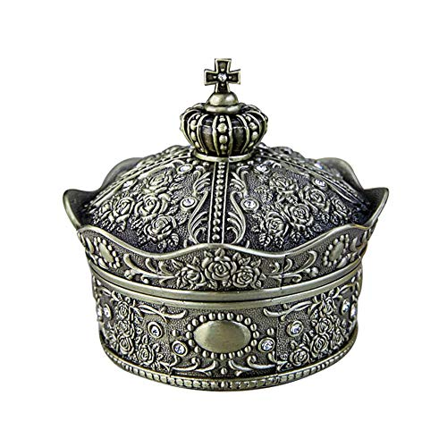 GOCF Caja de joyería de aleación de Zinc Diamond Rose Princess Regalo Caja de Regalo aleación de Zinc Estilo Europeo Retro Corona joyería Caja de joyería Pulsera de Anillo de Pendiente.