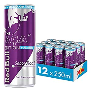 Red Bull, Bebida Energética, Acai, Sin Azúcar - 12 latas de 250 ml - Total: 3000 ml