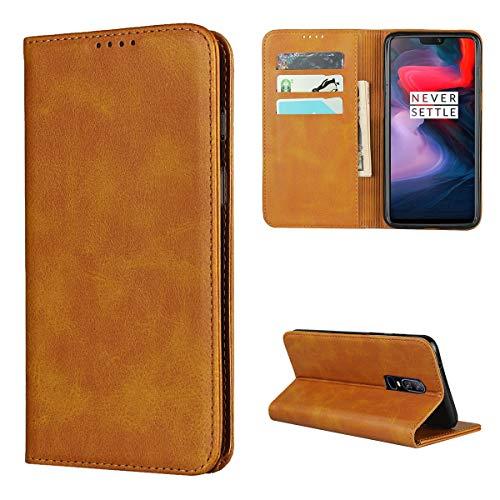Copmob Hülle Oneplus 6,Premium Flip Leder Brieftasche Handyhülle,[3 Kartensteckplatz][Ständerfunktion][Magnetverschluss],Ledertasche Schutzhülle für Oneplus 6 - Hellbraun