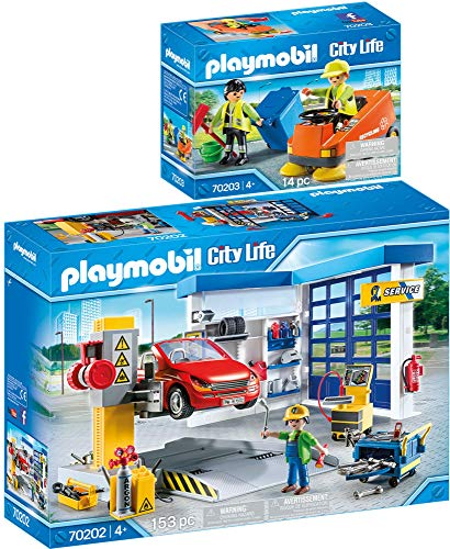 City Life PLAYMOBIL 2er Set 70202 70203 Autowerkstatt + Kehrmaschine